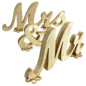 """Tähed """"Mr & Mrs"""" (kuldne)"""