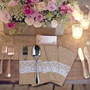 Noa ja kahvli tasku (rustik, pitsiga)